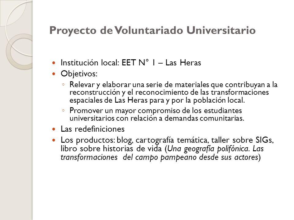 Proyecto de Voluntariado Universitario Institución local: EET N° 1 – Las Heras Objetivos: Relevar y elaborar una serie de materiales que contribuyan a la reconstrucción y el reconocimiento de las transformaciones espaciales de Las Heras para y por la población local.