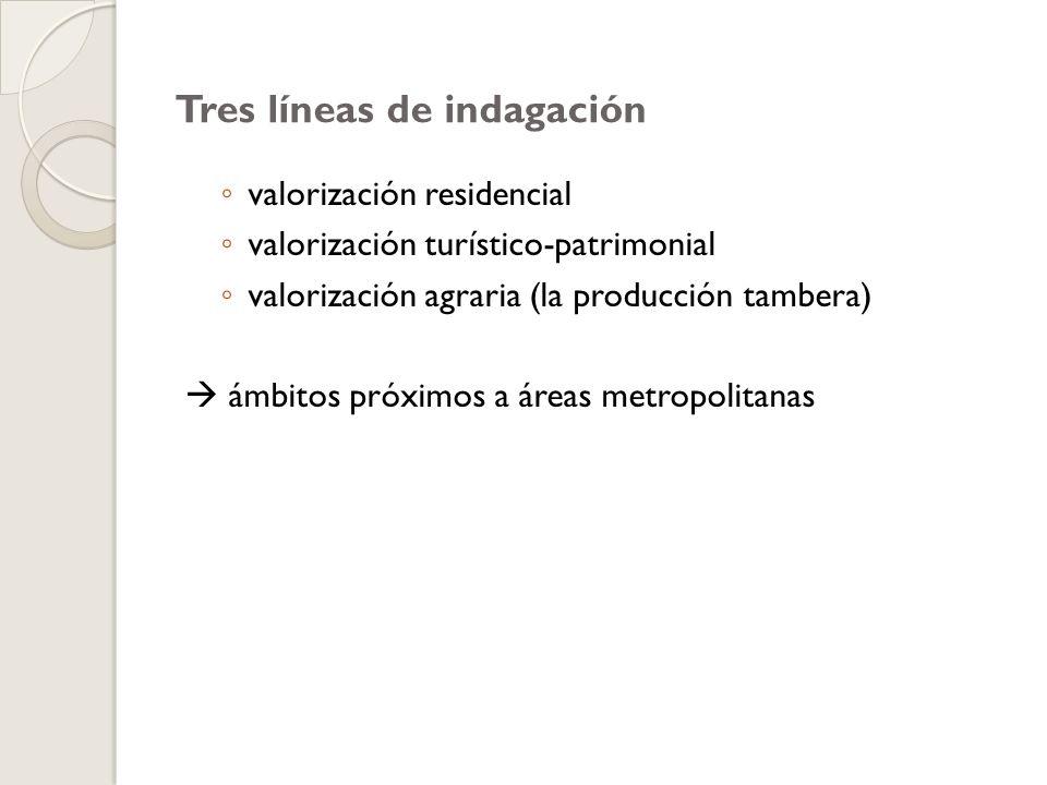 Tres líneas de indagación valorización residencial valorización turístico-patrimonial valorización agraria (la producción tambera) ámbitos próximos a áreas metropolitanas