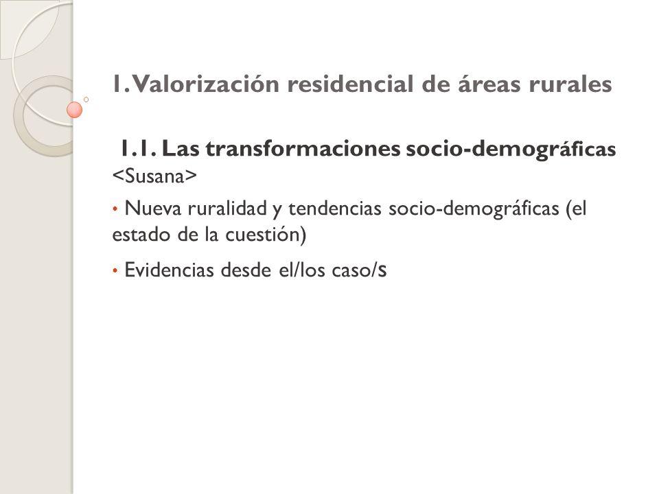 1. Valorización residencial de áreas rurales 1.1.
