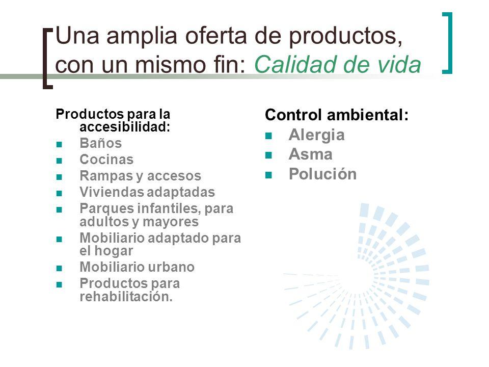 Una amplia oferta de productos, con un mismo fin: Calidad de vida Productos para la accesibilidad: Baños Cocinas Rampas y accesos Viviendas adaptadas