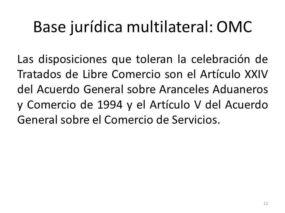 12 Base jurídica multilateral: OMC Las disposiciones que toleran la celebración de Tratados de Libre Comercio son el Artículo XXIV del Acuerdo General