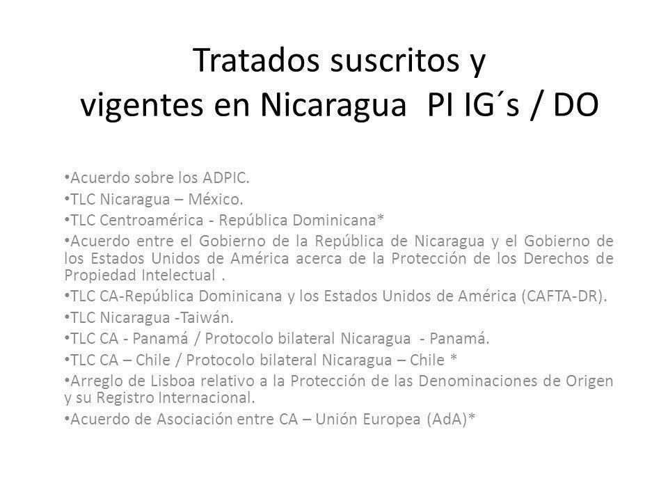 Tratados suscritos y vigentes en Nicaragua PI IG´s / DO Acuerdo sobre los ADPIC. TLC Nicaragua – México. TLC Centroamérica - República Dominicana* Acu
