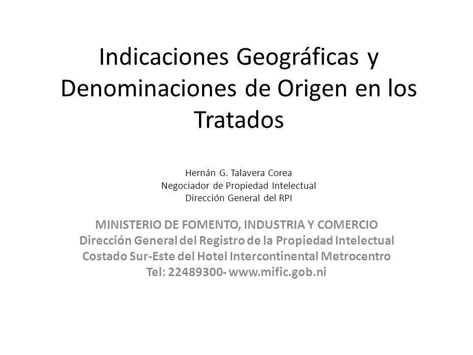 Indicaciones Geográficas y Denominaciones de Origen en los Tratados Hernán G. Talavera Corea Negociador de Propiedad Intelectual Dirección General del
