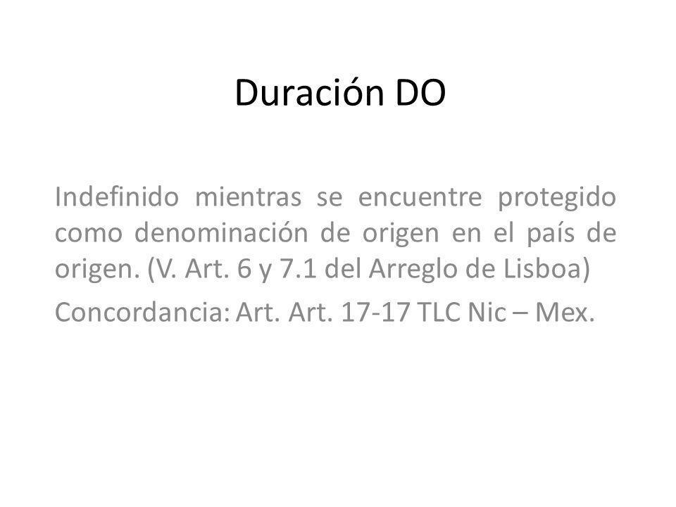 Duración DO Indefinido mientras se encuentre protegido como denominación de origen en el país de origen. (V. Art. 6 y 7.1 del Arreglo de Lisboa) Conco