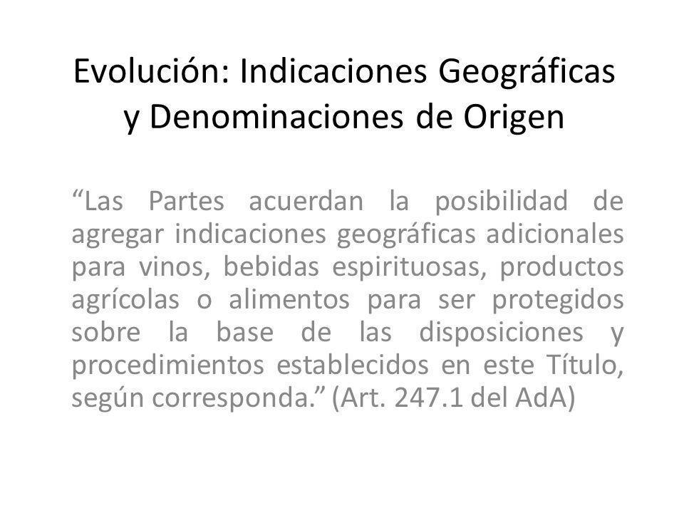 Evolución: Indicaciones Geográficas y Denominaciones de Origen Las Partes acuerdan la posibilidad de agregar indicaciones geográficas adicionales para