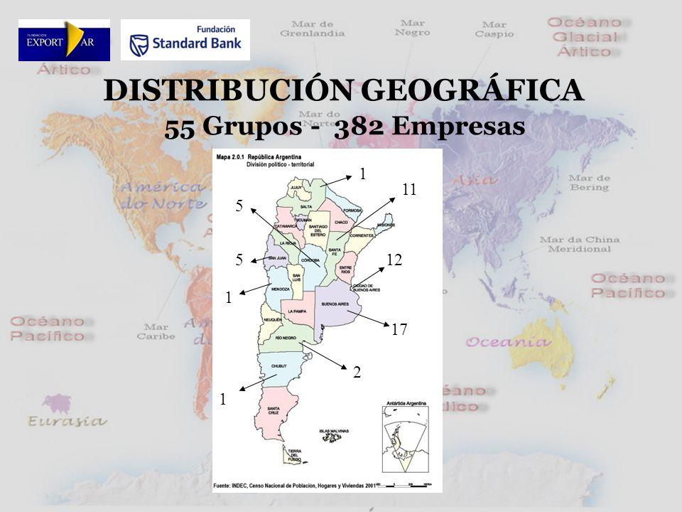 55 Grupos - 382 Empresas DISTRIBUCIÓN GEOGRÁFICA 17 1 12 5 1 2 1 5 11