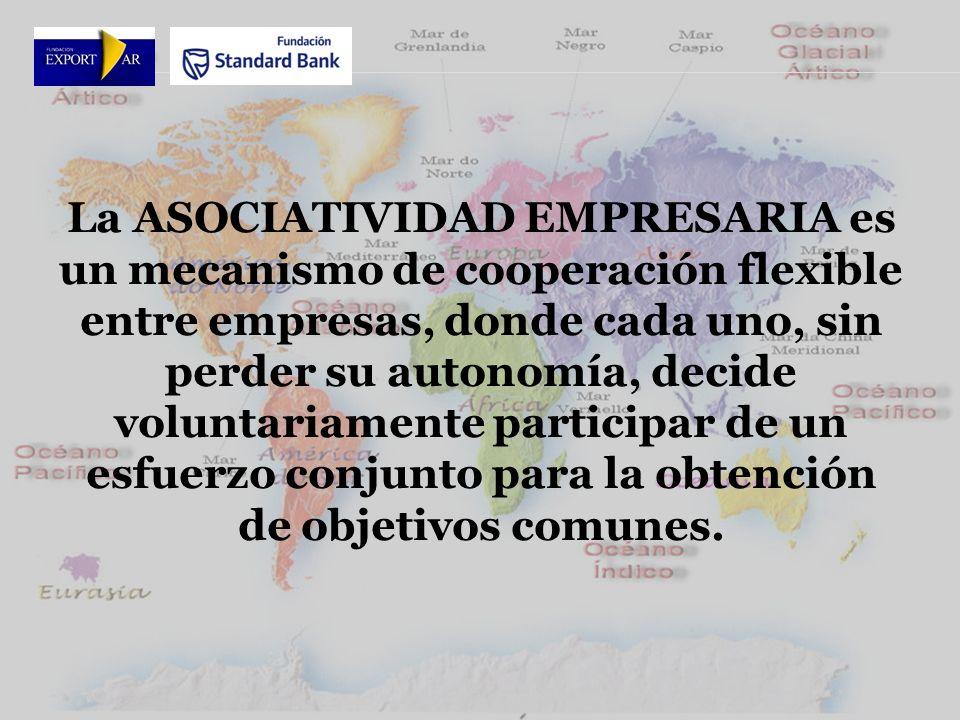 La ASOCIATIVIDAD EMPRESARIA es un mecanismo de cooperación flexible entre empresas, donde cada uno, sin perder su autonomía, decide voluntariamente participar de un esfuerzo conjunto para la obtención de objetivos comunes.