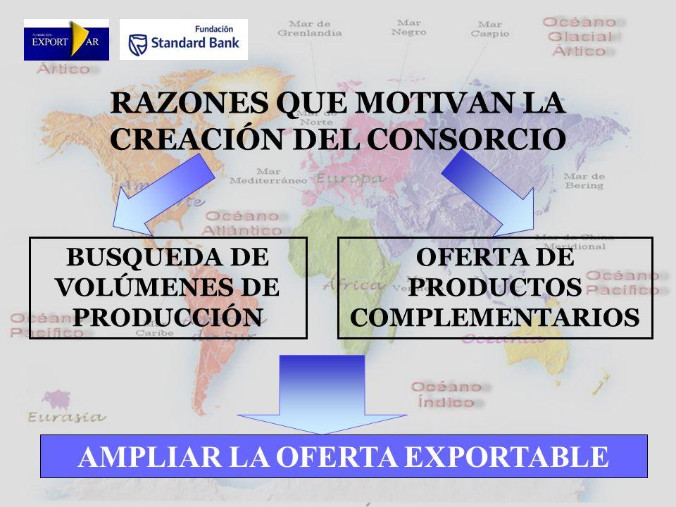 RAZONES QUE MOTIVAN LA CREACIÓN DEL CONSORCIO BUSQUEDA DE VOLÚMENES DE PRODUCCIÓN OFERTA DE PRODUCTOS COMPLEMENTARIOS AMPLIAR LA OFERTA EXPORTABLE