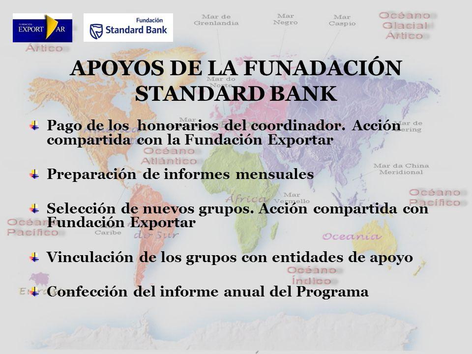 APOYOS DE LA FUNADACIÓN STANDARD BANK Pago de los honorarios del coordinador.