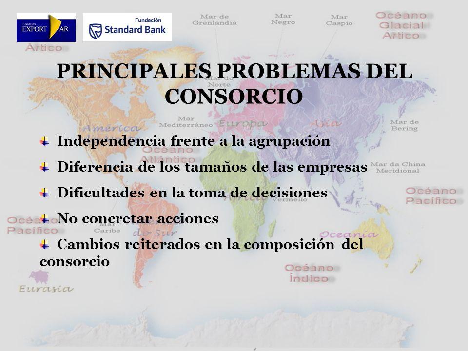 PRINCIPALES PROBLEMAS DEL CONSORCIO Independencia frente a la agrupación Diferencia de los tamaños de las empresas Dificultades en la toma de decisiones No concretar acciones Cambios reiterados en la composición del consorcio