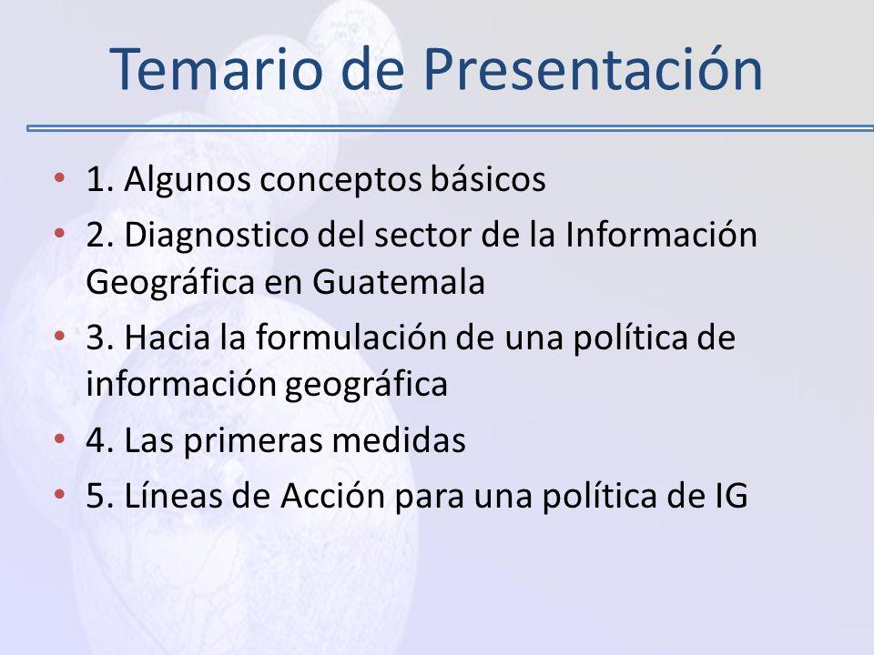 La experiencia del SNIG La ortofoto como estándar de hecho Las Capacidades Técnicas en Guatemala Preocupaciones universitarias La necesidad de los grandes productores (IGN, RIC, INE) Modernización del Estado y competitividad Oportunidades
