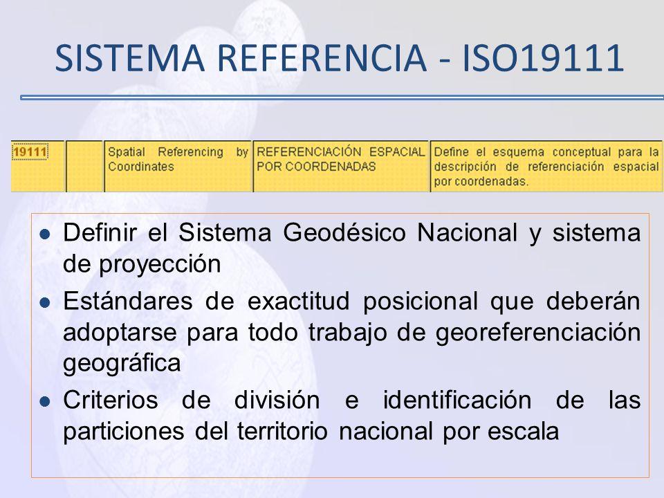 Normas Nacionales Estándares de Datos Fundamentales Catálogos de Tipos de objetos geográficos Modelos de datos para el intercambio. Identificación úni