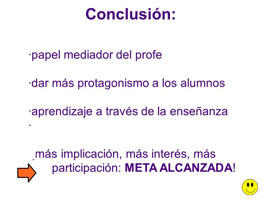 Conclusión: ·papel mediador del profe ·dar más protagonismo a los alumnos ·aprendizaje a través de la enseñanza · ·¡más implicación, más interés, más participación: META ALCANZADA!