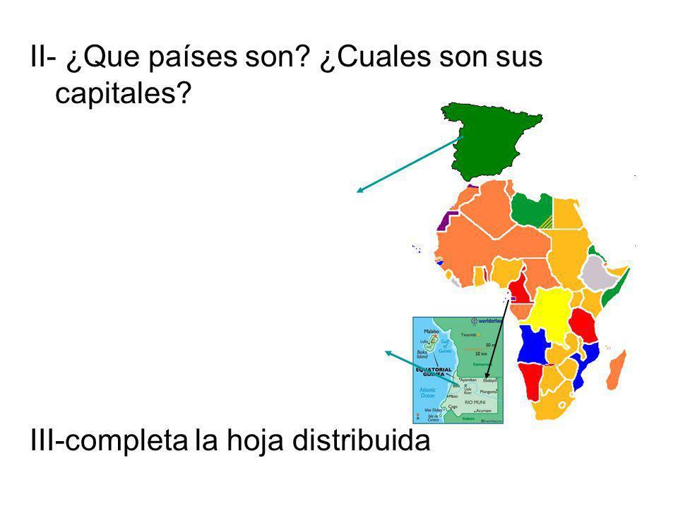 II- ¿Que países son? ¿Cuales son sus capitales? III-completa la hoja distribuida