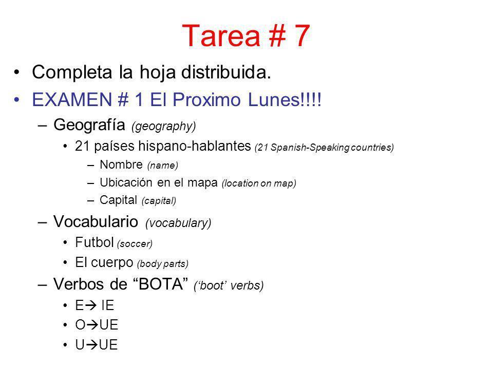 Tarea # 7 Completa la hoja distribuida. EXAMEN # 1 El Proximo Lunes!!!! –Geografía (geography) 21 países hispano-hablantes (21 Spanish-Speaking countr