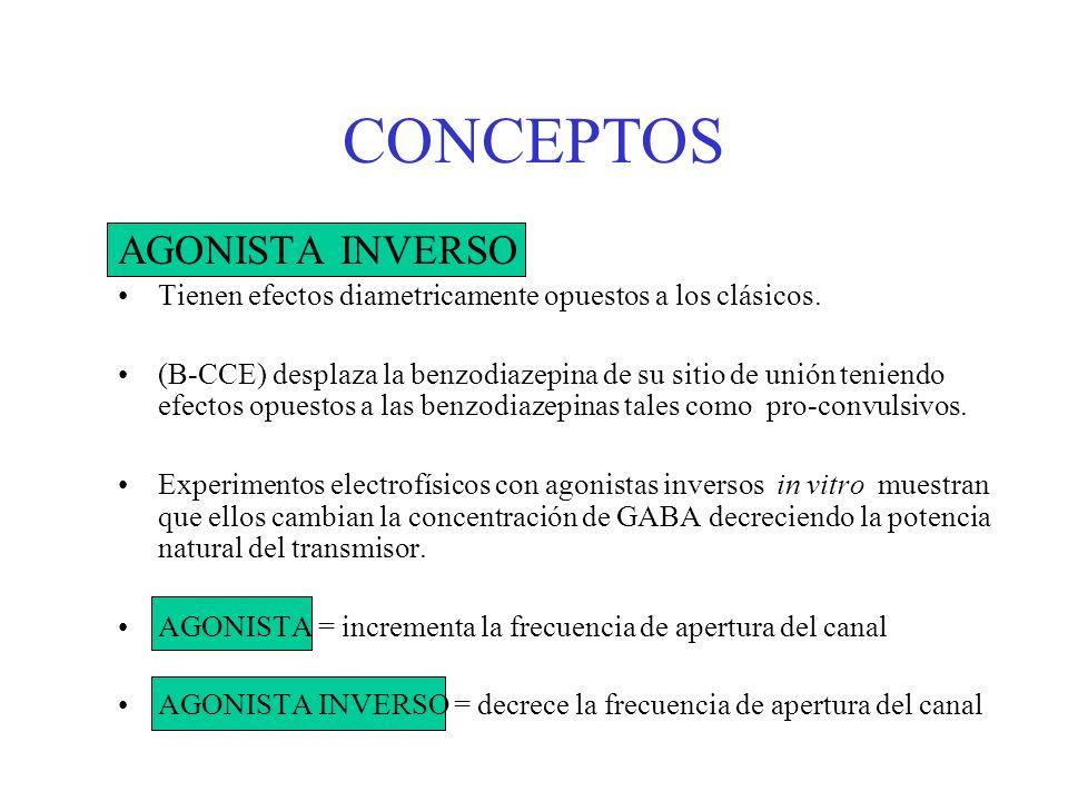 CONCEPTOS AGONISTA INVERSO Tienen efectos diametricamente opuestos a los clásicos. (B-CCE) desplaza la benzodiazepina de su sitio de unión teniendo ef