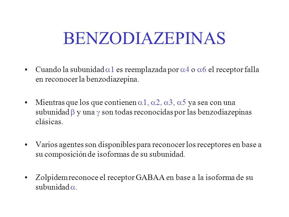 BENZODIAZEPINAS Cuando la subunidad 1 es reemplazada por 4 o 6 el receptor falla en reconocer la benzodiazepina. Mientras que los que contienen 1, 2,