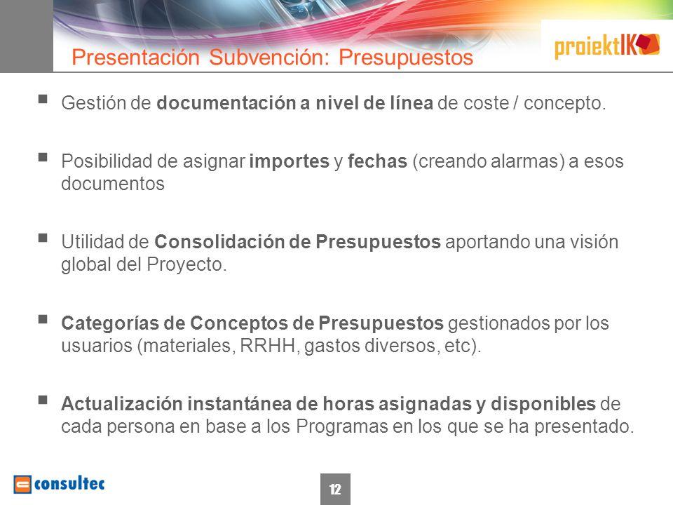 12 Gestión de documentación a nivel de línea de coste / concepto.