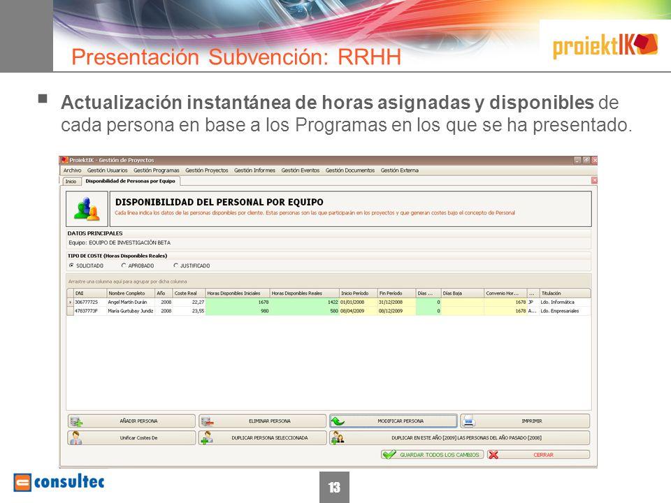 14 Posibilidad de cargar o descargar documentación desde cualquier ordenador con una simple conexión a Internet (Entorno Web) Versionado de documentos Presentación Subvención: Documentación