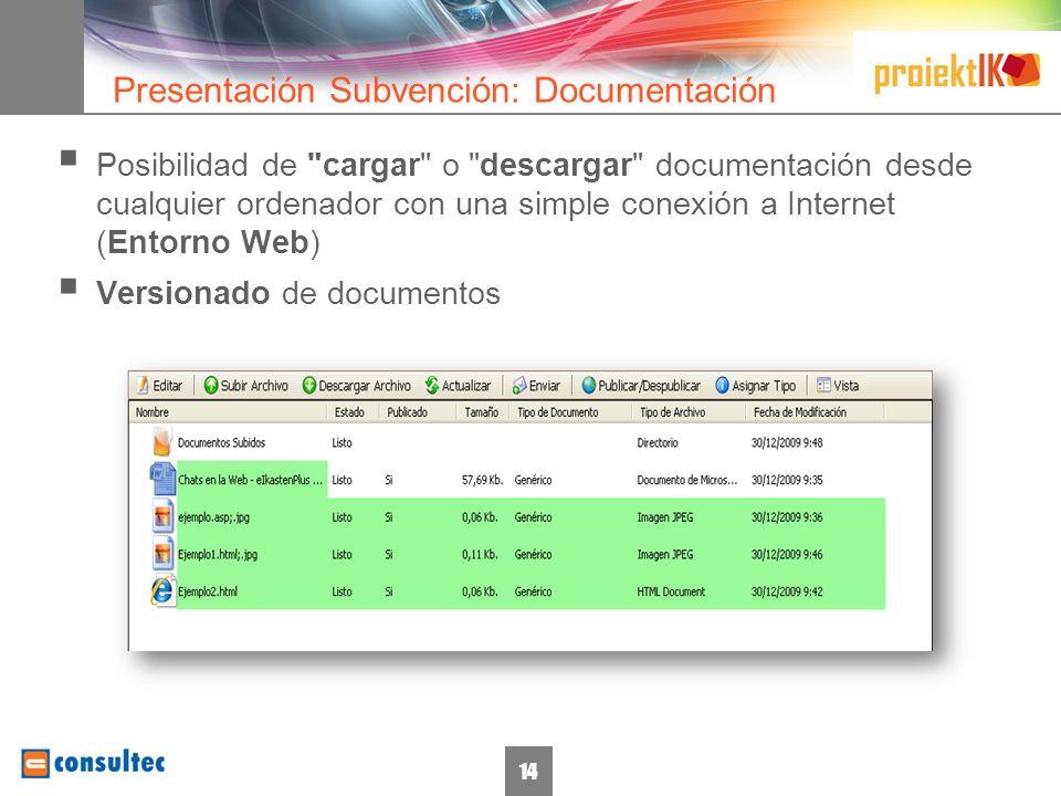 15 Entorno Web Control de accesos Gestión de Permisos Información económica Presentaciones Consulta de Presupuestos Documentación Descarga Carga