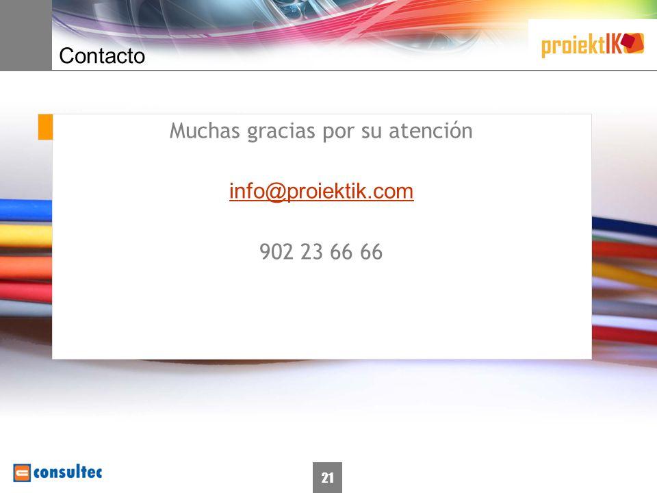 21 Contacto Muchas gracias por su atención info@proiektik.com 902 23 66 66