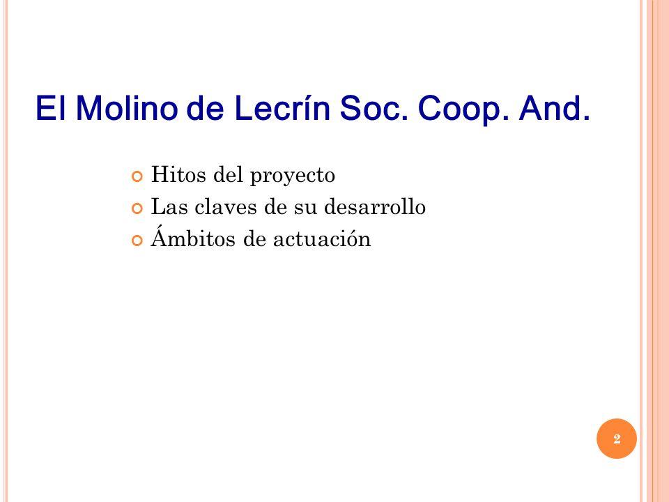 Hitos del proyecto Las claves de su desarrollo Ámbitos de actuación El Molino de Lecrín Soc.