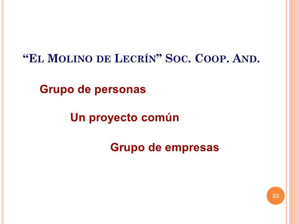 E L M OLINO DE L ECRÍN S OC. C OOP. A ND. Un proyecto común Grupo de personas Grupo de empresas 33