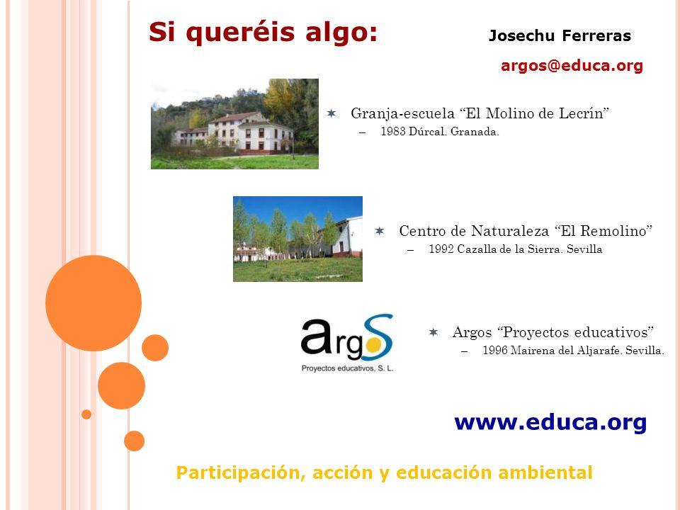 Participación, acción y educación ambiental Si queréis algo: Josechu Ferreras argos@educa.org www.educa.org Granja-escuela El Molino de Lecrín –1983 Dúrcal.