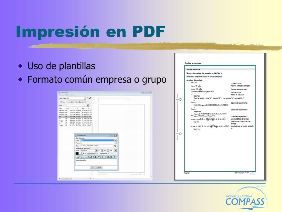 Impresión en PDF Uso de plantillas Formato común empresa o grupo