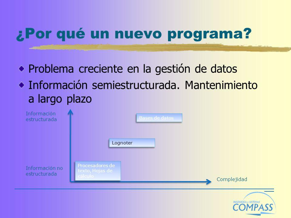 ¿Por qué un nuevo programa? Problema creciente en la gestión de datos Información semiestructurada. Mantenimiento a largo plazo Información estructura