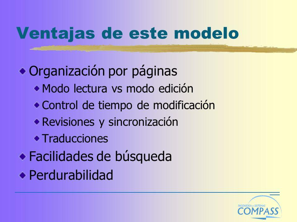 Ventajas de este modelo Organización por páginas Modo lectura vs modo edición Control de tiempo de modificación Revisiones y sincronización Traduccion