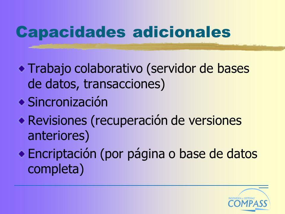 Capacidades adicionales Trabajo colaborativo (servidor de bases de datos, transacciones) Sincronización Revisiones (recuperación de versiones anterior