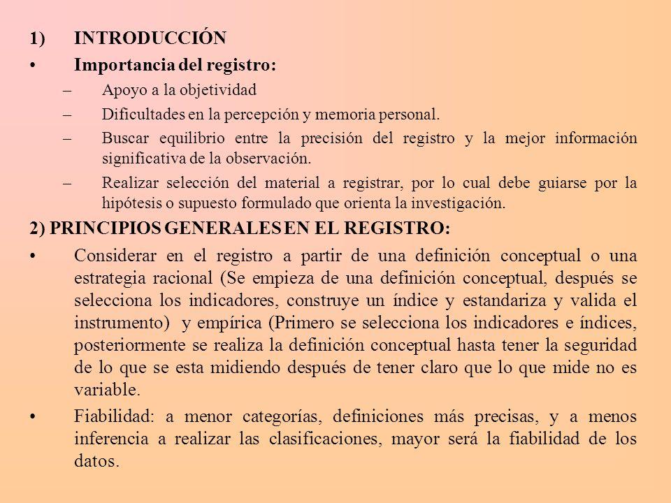 1)INTRODUCCIÓN Importancia del registro: –Apoyo a la objetividad –Dificultades en la percepción y memoria personal. –Buscar equilibrio entre la precis