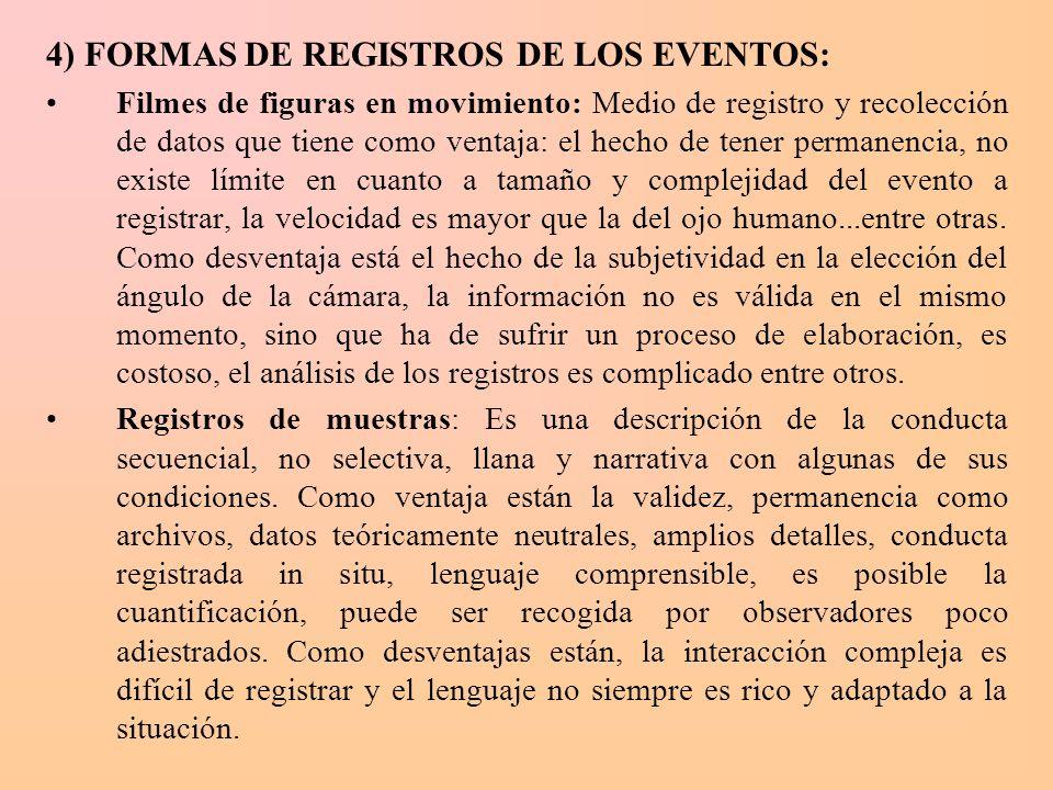 4) FORMAS DE REGISTROS DE LOS EVENTOS: Filmes de figuras en movimiento: Medio de registro y recolección de datos que tiene como ventaja: el hecho de t