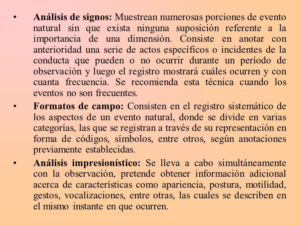 Análisis de signos: Muestrean numerosas porciones de evento natural sin que exista ninguna suposición referente a la importancia de una dimensión. Con