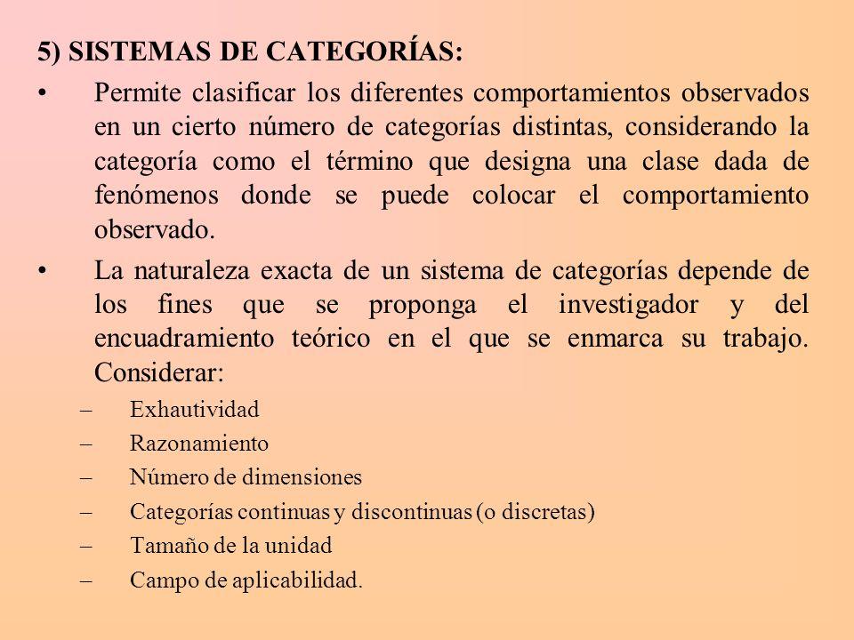 5) SISTEMAS DE CATEGORÍAS: Permite clasificar los diferentes comportamientos observados en un cierto número de categorías distintas, considerando la c