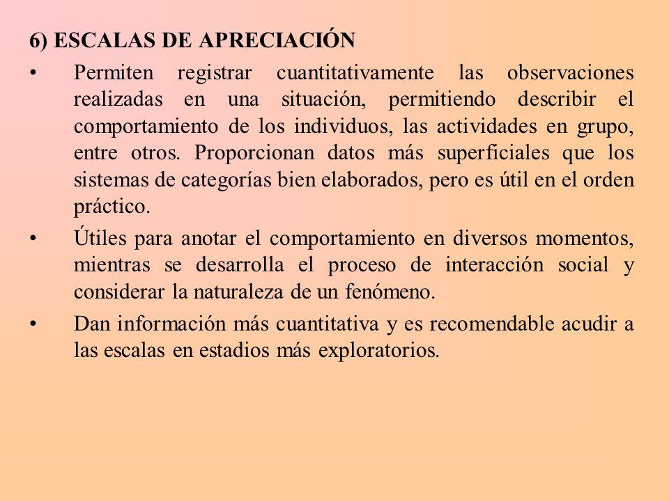 6) ESCALAS DE APRECIACIÓN Permiten registrar cuantitativamente las observaciones realizadas en una situación, permitiendo describir el comportamiento
