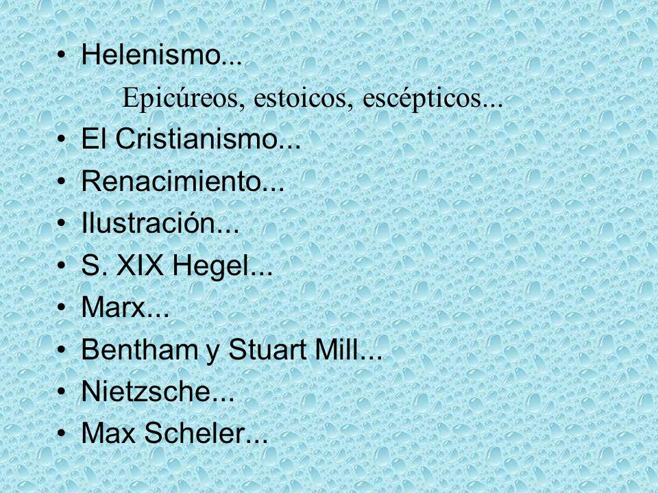 Helenismo... Epicúreos, estoicos, escépticos... El Cristianismo... Renacimiento... Ilustración... S. XIX Hegel... Marx... Bentham y Stuart Mill... Nie