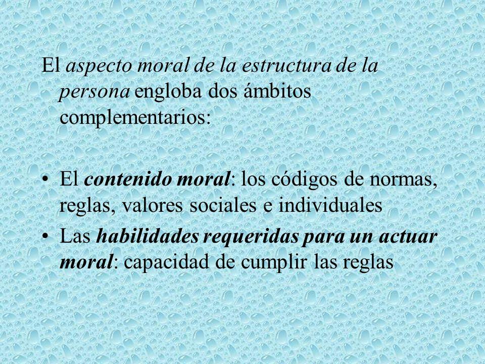 El aspecto moral de la estructura de la persona engloba dos ámbitos complementarios: El contenido moral: los códigos de normas, reglas, valores social