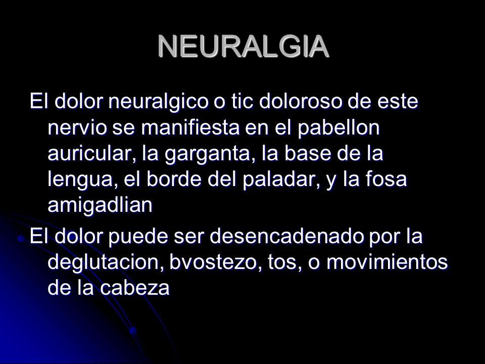 NEURALGIA El dolor neuralgico o tic doloroso de este nervio se manifiesta en el pabellon auricular, la garganta, la base de la lengua, el borde del pa