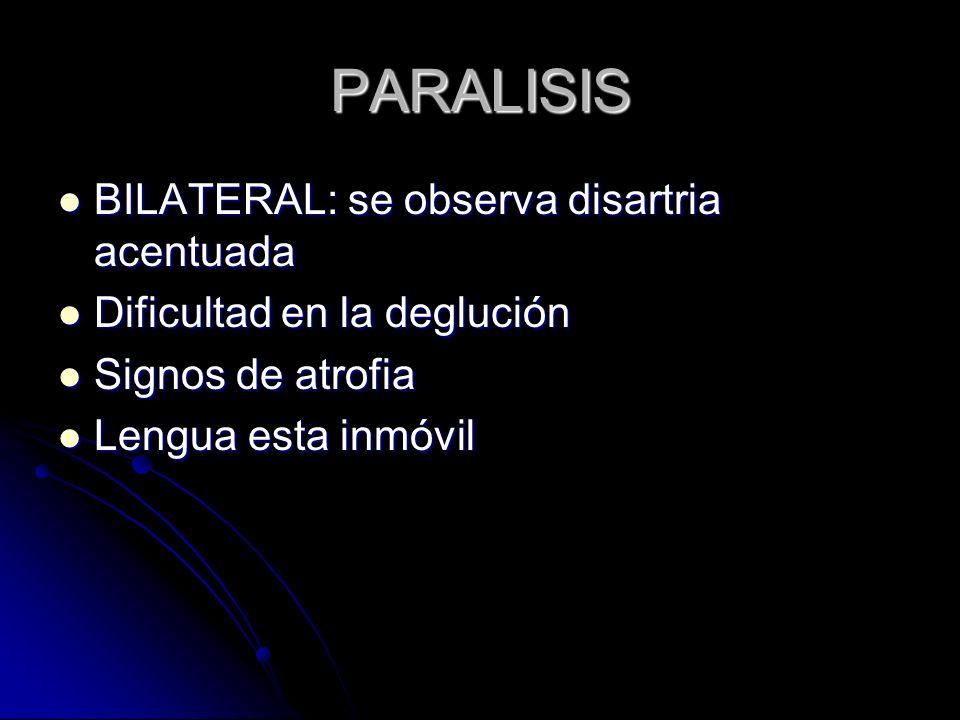 PARALISIS BILATERAL: se observa disartria acentuada BILATERAL: se observa disartria acentuada Dificultad en la deglución Dificultad en la deglución Si