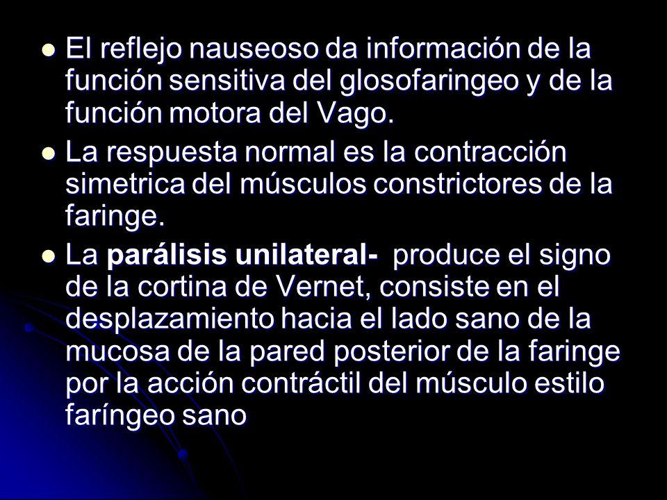 El reflejo nauseoso da información de la función sensitiva del glosofaringeo y de la función motora del Vago. El reflejo nauseoso da información de la