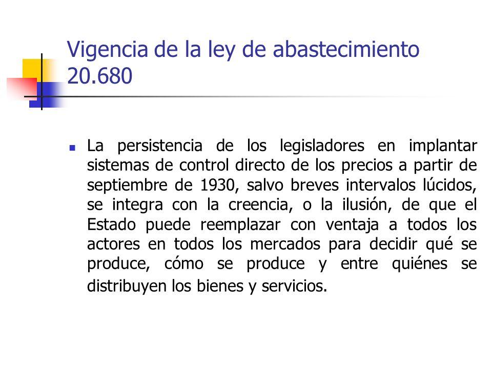 Vigencia de la ley de abastecimiento 20.680 La persistencia de los legisladores en implantar sistemas de control directo de los precios a partir de se