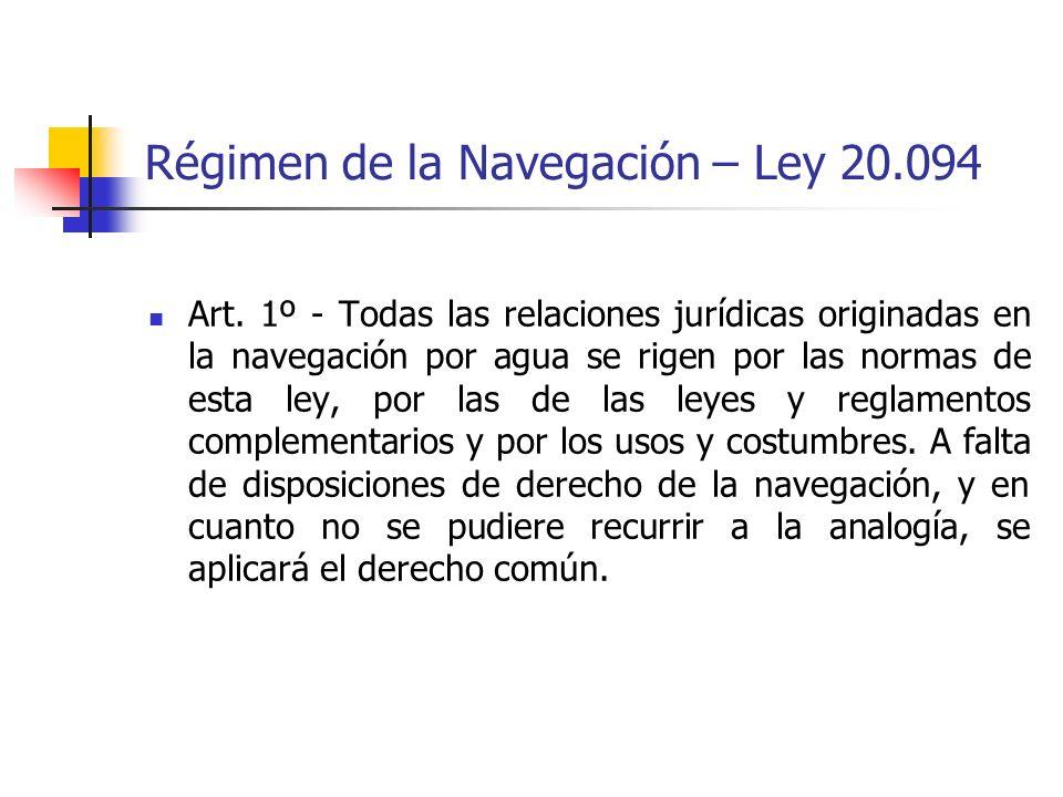 Régimen de la Navegación – Ley 20.094 Art. 1º - Todas las relaciones jurídicas originadas en la navegación por agua se rigen por las normas de esta le