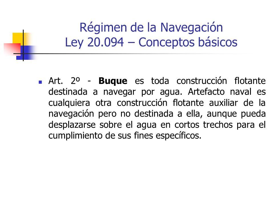Régimen de la Navegación Ley 20.094 – Conceptos básicos Art. 2º - Buque es toda construcción flotante destinada a navegar por agua. Artefacto naval es