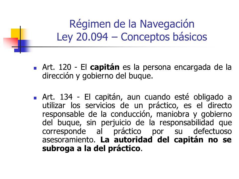 Régimen de la Navegación Ley 20.094 – Conceptos básicos Art. 120 - El capitán es la persona encargada de la dirección y gobierno del buque. Art. 134 -