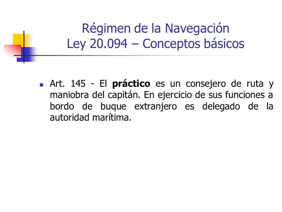 Régimen de la Navegación Ley 20.094 – Conceptos básicos Art. 145 - El práctico es un consejero de ruta y maniobra del capitán. En ejercicio de sus fun