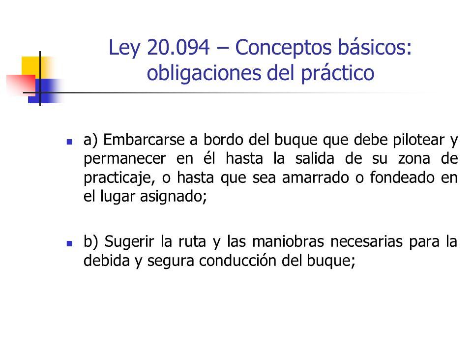 Ley 20.094 – Conceptos básicos: obligaciones del práctico a) Embarcarse a bordo del buque que debe pilotear y permanecer en él hasta la salida de su z