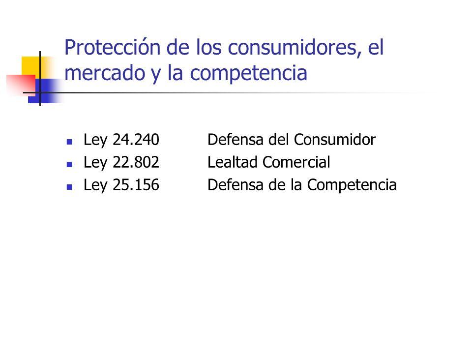 Protección de los consumidores, el mercado y la competencia Ley 24.240 Defensa del Consumidor Ley 22.802Lealtad Comercial Ley 25.156Defensa de la Comp