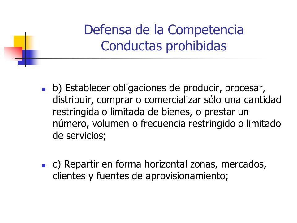 Defensa de la Competencia Conductas prohibidas b) Establecer obligaciones de producir, procesar, distribuir, comprar o comercializar sólo una cantidad